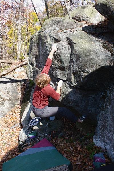 Rock Climbing Photo: First move (crux)