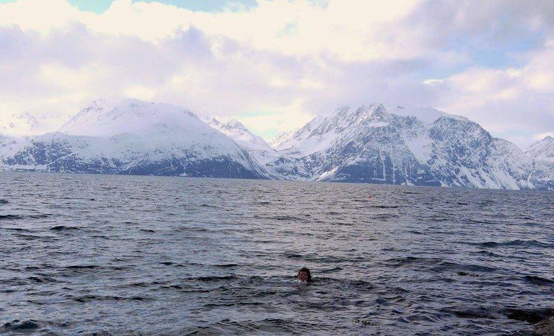 Fjord dip after ski, Lyngen Alps