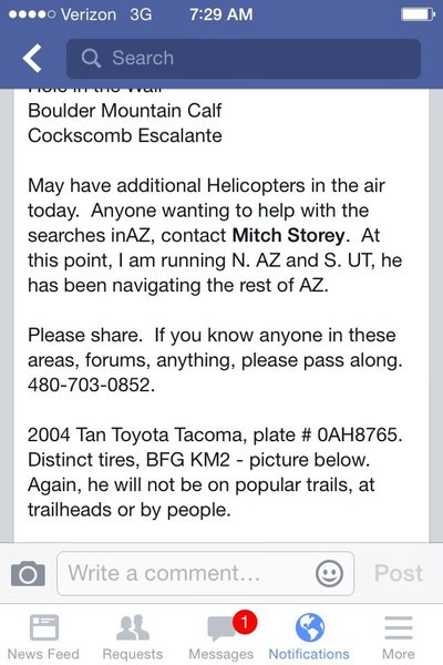 Description of missing hiker's car- last seen in southern UT