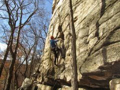 Rock Climbing Photo: Placing gear at a good rest spot a few feet below ...
