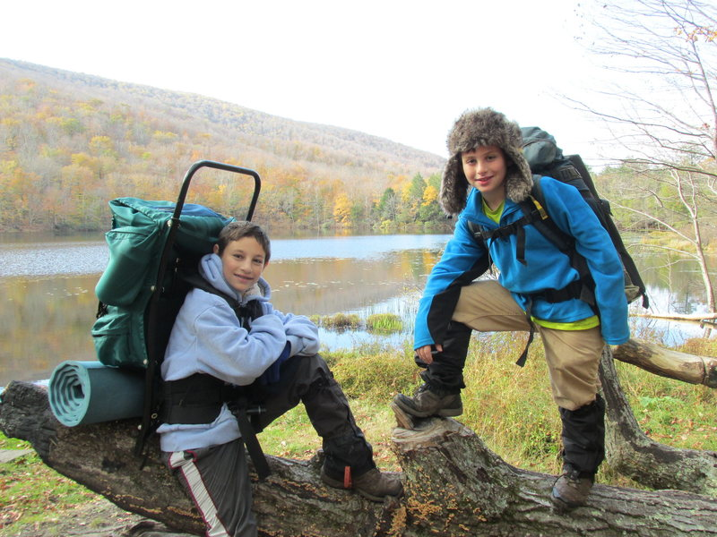 Zachary and Jonah Chalnick backpacking at Echo Lake Catskill Mountains NY Fall 2013