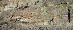 Rock Climbing Photo: Lower FZ Wall left side  topo