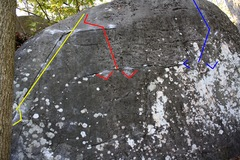Rock Climbing Photo: Three of the routes  yellow - left book end v3 red...