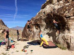 Rock Climbing Photo: Shirtless Guy on left on the Flake