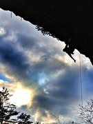 Rock Climbing Photo: Stretch shaking out on Tsunami on, possibly, the l...