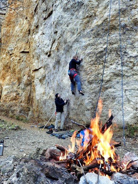 Rock Climbing Photo: Late season burn for the coach. Tyler Hoffart on a...