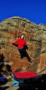 Rock Climbing Photo: Prepping to make the big reach to the left hand ed...