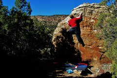 Rock Climbing Photo: Working the sloper and sidepull on Searching for B...