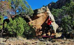 Rock Climbing Photo: Reaching the left hand edge on Tonic Ton.