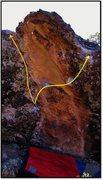 Rock Climbing Photo: Segosilly problem beta in yellow.