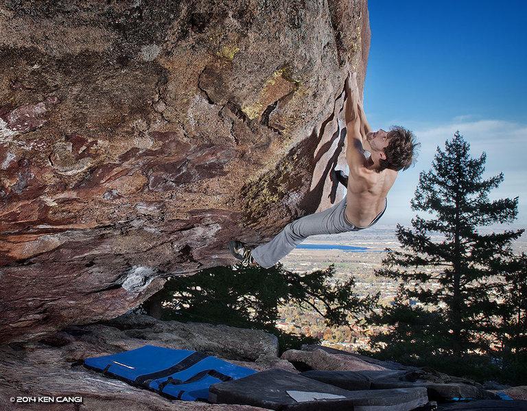 Rock Climbing Photo: James A. Reynolds on Turning Point - V8, Satellite...