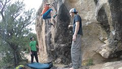 Rock Climbing Photo: Quickly get those feet up, great smears and a ledg...
