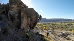 Rock Climbing Photo: Look left from here, and you'll see the top out sp...