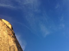 Rock Climbing Photo: Christina taking a sunset run on Lesbian Love.   P...