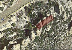 Rock Climbing Photo: Approach trail and area outline.