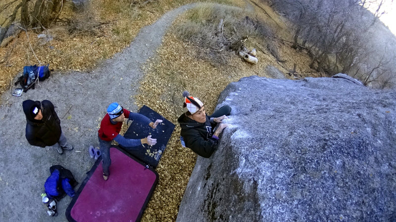 Rock Climbing Photo: working the tricky arete