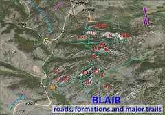 BLAIR TOPO (roads, formations and major trails). <br /> <br />Here's an 'overview topo' showing the overall organization of BLAIR, including both Lower an Upper Blair.  When viewed with reference to 'Getting There', you should be able to navigate the area.  Formations are indicated in red.  You can see the major USFS roads (numbered in black), parking areas (orange) and commonly used trails (light blue). <br /> <br />Abbreviations: <br /> <br />Formations:  ar1, 2, and 3 = Adam's Ribs (right to left respectively); B1, 2, and 3 = Blair 1, 2 and 3, EC = East Corner, g r= Goldirocks, H = The Heap, JT = John's Tower, LB = Little Blair, LBP = Lower Blair Parking, LJT = Little John's Tower, NC = North Corner, P? = temporary parking for Upper Blair, SC = South Corner, SMB = Spectreman Buttress, UBP = Upper Blair Parking, WC = West Corner. <br /> <br />The yellow arrow indicates the turn from #705 to #707 towards Upper Blair.