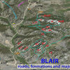 BLAIR TOPO (roads, formations and major trails).<br> <br> Here's an 'overview topo' showing the overall organization of BLAIR, including both Lower an Upper Blair.  When viewed with reference to 'Getting There', you should be able to navigate the area.  Formations are indicated in red.  You can see the major USFS roads (numbered in black), parking areas (orange) and commonly used trails (light blue).<br> <br> Abbreviations:<br> <br> Formations:  ar1, 2, and 3 = Adam's Ribs (right to left respectively); B1, 2, and 3 = Blair 1, 2 and 3, EC = East Corner, g r= Goldirocks, H = The Heap, JT = John's Tower, LB = Little Blair, LBP = Lower Blair Parking, LJT = Little John's Tower, NC = North Corner, P? = temporary parking for Upper Blair, SC = South Corner, SMB = Spectreman Buttress, UBP = Upper Blair Parking, WC = West Corner.<br> <br> The yellow arrow indicates the turn from #705 to #707 towards Upper Blair.