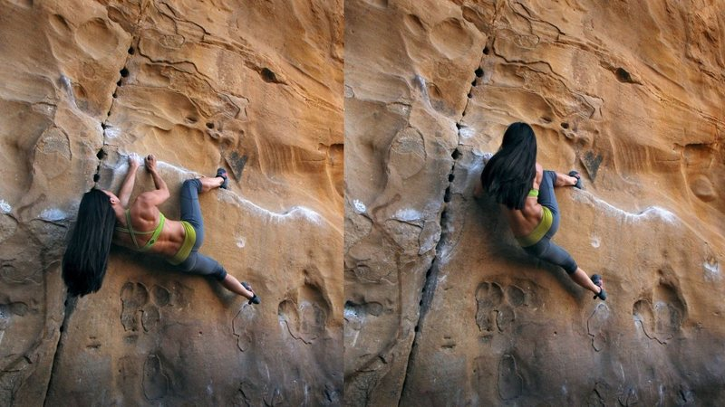 I personally don't know the name of the wall, but walked around to this face with awesome pockets and a heel rail to mess around with [Natalie Duran]