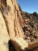 Rock Climbing Photo: Leading Desperado, 5.10a, Joshua Tree, CA