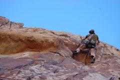 Rock Climbing Photo: Jon Hartmann leading up the beautiful roof jugs