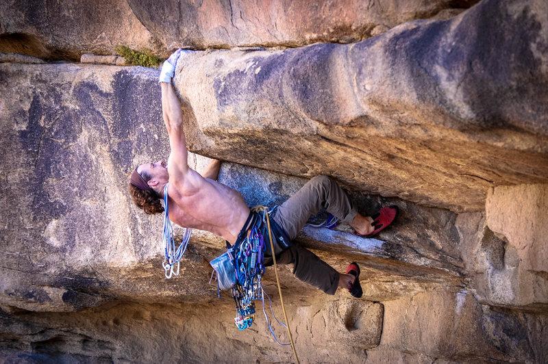 Rock Climbing Photo: Killer hand jam to giant mail slot
