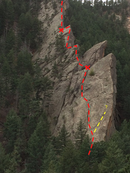 Rock Climbing Photo: Here is the way we went. Going further out toward ...