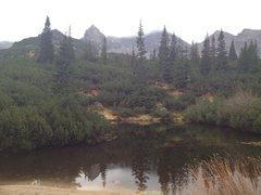Rock Climbing Photo: The triangular mountain in the back.