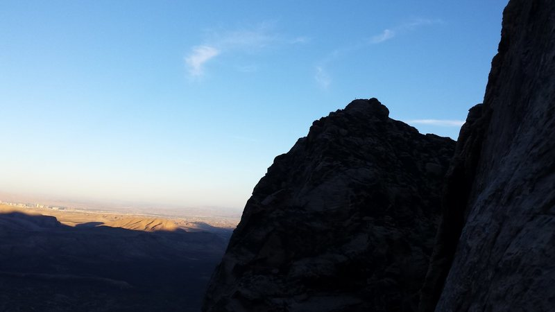 Red Rocks trip- November 2014. With Mike C, Doug D, john and Di D. Climber on top of Frogland Buttress from Sour Mash.