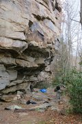 Rock Climbing Photo: Alex moving into the steep jugs after crushing the...