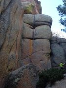Scratch the Surface, 5.10, starts low and right trending up and left to finish on thin hand crack.