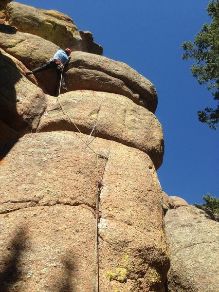 Rock Climbing Photo: Kirk starting the final thin hands bulge!