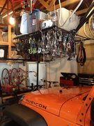 Rock Climbing Photo: Overhead gear storage system