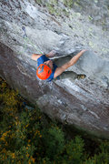 Rock Climbing Photo: Eric nearing the top of the first pitch