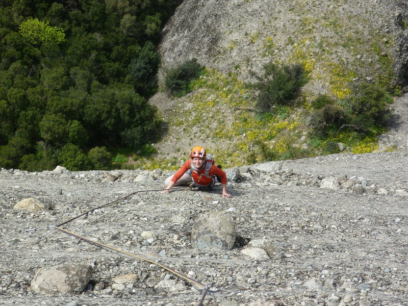 Rock Climbing Photo: Jitka following the 3rd or 4th pitch of Sophokles....
