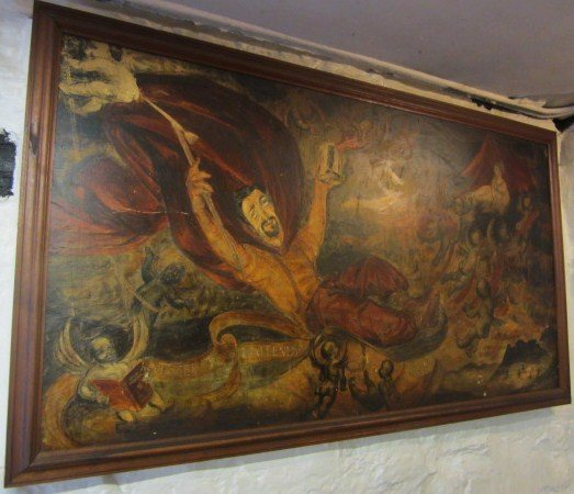 Painting of Black Jack  in the  Dungeon Gyhll Hotel . Langdale . Lake District   The climber who posed for the painting was the late Jack Thornton .