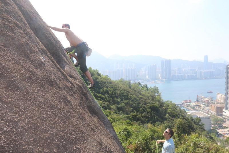 Rock Climbing Photo: Charley on Slabasaurus Rex.