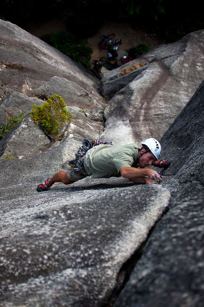 Me getting my stem on on Up, Up, and Away at the Smoke Bluffs in Squamish