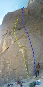 Rock Climbing Photo: Left (yellow) Route is Abitarot. Right (Blue) Rout...