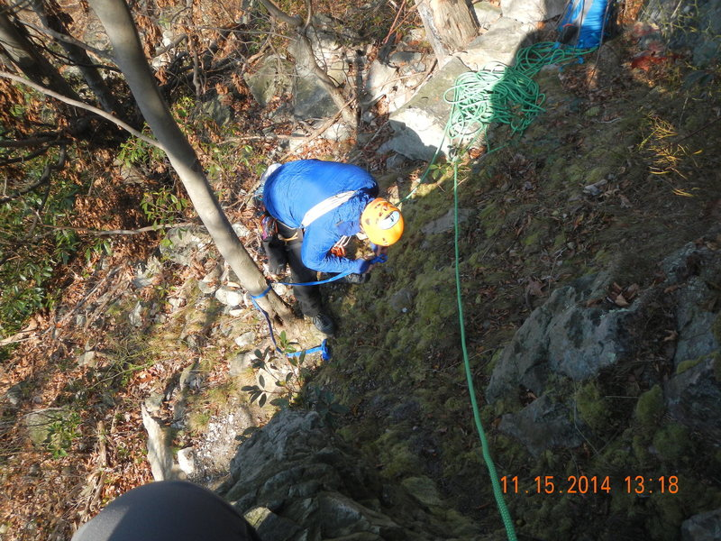 Mark ties in to belay at the base of Little Jimmie's Arete