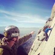 Rock Climbing Photo: Paul watching Blake follow the 2nd tension travers...