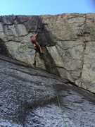 Andrew following the crux pitch on Super Crack. Lcc