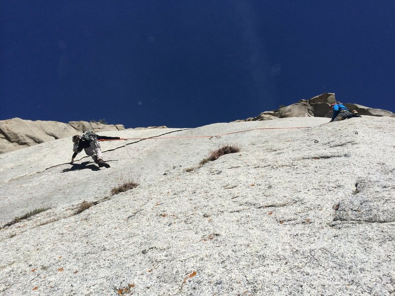 Climber on the 2nd tension traverse.