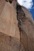 Rock Climbing Photo: Ian in the middle of the business on the Obelix pi...