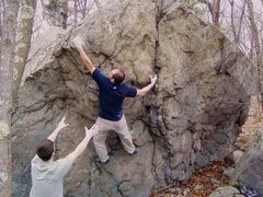 Rock Climbing Photo: Reaching for the top from the right hand seam hold...
