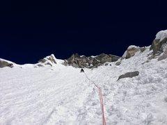 Rock Climbing Photo: Heading up to the final rockband c.6000m under a b...
