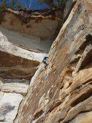 Rock Climbing Photo: Upper Crux of Flounder 11a