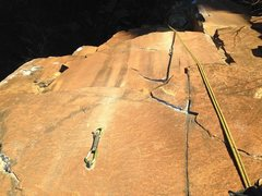 Rock Climbing Photo: Looking down the route from the anchors.  Desparet...