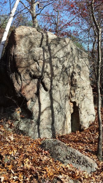 Rock Climbing Photo: The front of the boulder from the trail.