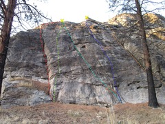 Rock Climbing Photo: First slabby cliff on the left topo